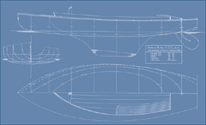 White Boat line drawing of the hull